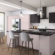 Sleek, chic and completely unique. 👏 Which showstopping colour combination wo. Sleek, chic and completely unique. 👏 Which showstopping colour combination would you choose from the Magnet Create 20 colour collection? Modern Kitchen Interiors, Contemporary Kitchen Design, Home Decor Kitchen, New Kitchen, Interior Design Living Room, Awesome Kitchen, Kitchen Ideas, American Kitchen Interior, Kitchen Layout
