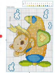 Cross Stitch For Kids, Cross Stitch Boards, Cross Stitch Baby, Cross Stitch Animals, Cross Stitching, Cross Stitch Embroidery, Cross Stitch Patterns, Brother Innovis, Baby F