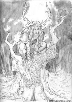 The Greenman, Cernunnos/Herne the Hunter. By Kyoht Fantasy Creatures, Mythical Creatures, Herne The Hunter, Loki, Celtic Mythology, Deer Art, Celtic Designs, Gods And Goddesses, Book Of Shadows