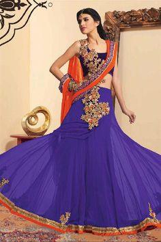 Purple Net Resham Embroidered Festive Wear Lehenga Choli