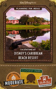 """Walt Disney World Planning Pins: A tropical paradise built around 45-acre Barefoot Bay, this Resort hotel brings the Islands to you with swaying palm trees, white-sand beaches and colonial architecture. Six villages—Trinidad North, Trinidad South, Martinique, Barbados, Aruba and Jamaica—host colorful Guest rooms, some pirate-themed! """"Island-hop"""" as you explore 200 lushly landscaped acres, or simply enjoy lazy days soaking up the sun in a hammock."""