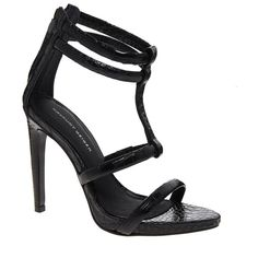 KG by Kurt Geiger Grace Black Leather Single Sole Sandals (1.265 DKK) ❤ liked on Polyvore featuring shoes, sandals, heels, sapatos, high heels, black heel sandals, black stilettos, high heel shoes, open toe sandals and crocs shoes