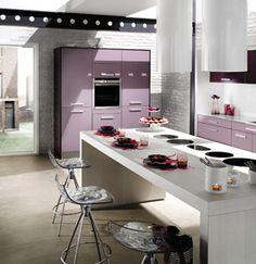 Best 12 Stylish Purple Kitchen Design Inspirations : Fascinating White Brick Wall Kitchen Design with Purple Kitchen Cabinets and White Kitc...