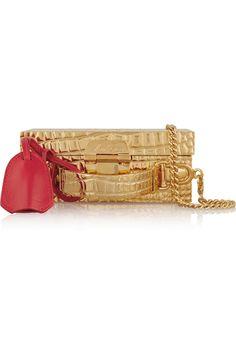 Mark Cross   Grace mini leather-trimmed gold-plated shoulder bag   NET-A-PORTER.COM