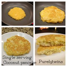 Simple single serving #coconut pancake - 1 egg, 1 tbsp coconut flour, 1 tbsp gelatin (or protein powder) Cook on skillet and enjoy with your favorite topping! We love #coconutoil   ~Purelytwins