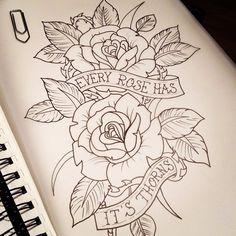 eyeshadow hooded eyes tutorials ~ eyeshadow hooded eyes & eyeshadow hooded eyes step by step & eyeshadow hooded eyes tutorials & eyeshadow hooded eyes natural Rose Thorn Tattoo, Rose Drawing Tattoo, Tattoo Sketches, Rose Tattoos, Flower Tattoos, Body Art Tattoos, Tattoo Drawings, Sleeve Tattoos, Sharpie Drawings