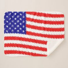 Wavy american flag sherpa blanket - home gifts ideas decor special unique custom individual customized individualized