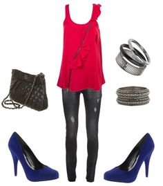 Red tank and blue pumps