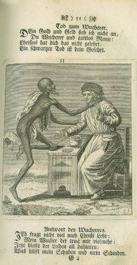 Images from the History of Medicine (NLM) Subject: A page from Todten-Tanz / Danse des Morts [1744], Death dances with a moneylender.