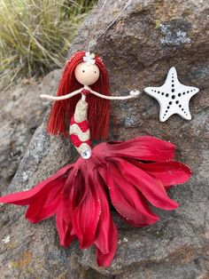 Excited to share the latest addition to my shop: Handmade Little Mermaid Ornament Flower Fairy Doll Under the Sea Theme Ocean Lover Red Hair Mermaid Bendy Doll Holiday Decor Little Mermaid Doll, Mermaid Fairy, Mermaid Dolls, Little Doll, Fairy Crafts, Doll Crafts, Cute Crafts, Diy Doll, Mermaid Ornament