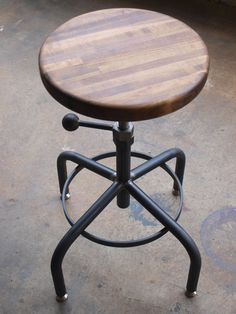 Walnut Industrial Stool Adjustable Drill Press by CamposIronWorks