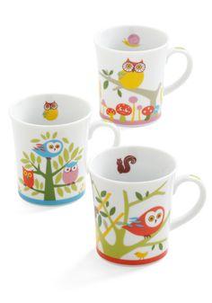Owl Together Again Mug Set - Multi, Vintage Inspired, 60s, Owls, Mushrooms, Quirky