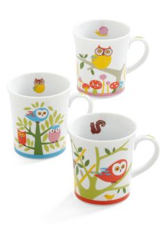 Owl Together Again Mug Set - Multi, Vintage Inspired, 60s, Owls, Mushrooms, Quirky