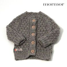 Smocked cardigan in off-white, brown, light grey and grey
