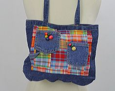 Vintage Denim bag Hippie bag Boho bag denim purse blue denim handbag Festival bag Festival purse denim 90s madras plaid  bag