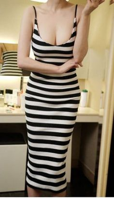 Backless Sexy Style Stripes Color Block Spaghetti Strap Slimming Women's Dress Summer Dresses   RoseGal.com Mobile
