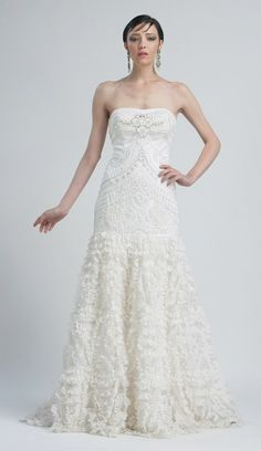 Sue Wong Summer 2012- White Delicate Embroidered & Ruffled Chiffon Strapless Drop Waist Prom Gown