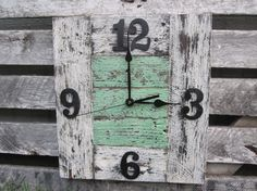 Repurposed Wood Pallet Clock Oak White And by . Pallet Clock, Pallet Art, Pallet Ideas, Pallet Crafts, Wood Crafts, Barn Wood, Rustic Wood, Wooden Pallets, Pallet Benches