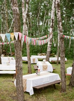 Outdoor picnic wedding. Love the banners! (: (: