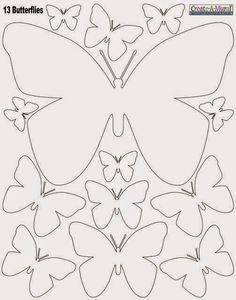 White Butterly Wall Stickers ~Instantly create a beautiful butterfly inspired room with peel & stick butterfly wall decals in white. The decals are made of vinyl, peel & stick removable wall decal appliques. sheet of peel & stick butterfly wall dec Butterfly Template, Butterfly Crafts, White Butterfly, Flower Template, Leaf Template, Owl Templates, Crown Template, Butterfly Mobile, Applique Templates