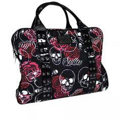 Sullen Art Collective Angels SA Rose Skull Canvas Bag with Graphic Screen Art Estilo Pin Up, Estilo Rock, Skull Purse, Skull Fashion, My Bags, Purse Wallet, Purses And Handbags, Fashion Bags, Rockabilly