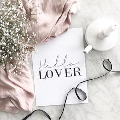 Quote Hello Lover | Flat Lay Photography | Pink | Floral | Tea Cup | Tea Party | Paris