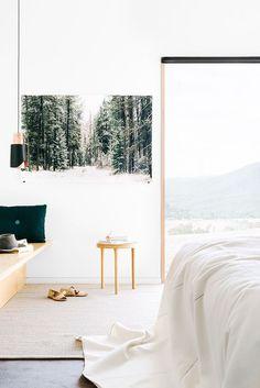Fiona Lynch // Finnon Glen // white; concrete; timber; picture window; black + copper low hanging pendant /