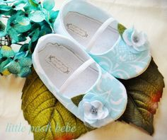 Baby Shoes Rayne Shade of Tiffany Blue Damask Print Designer Fabric with a sheen of Glitter (Size 1-4). $30.00, via Etsy.