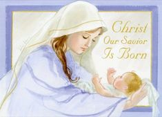 Mary Holding Baby Jesus Religious Christmas Card by LPG Greetings