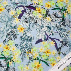 Designer Blue Floral Ungaro Printed Silk Jacquard (£121.90/metre) | Joel & Son Fabrics