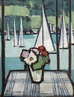 amare-habeo: Felice Casorati (Italian, 1883-1963)Window on the lake, 1949 oil on board, 59.3 x 48.5 cm