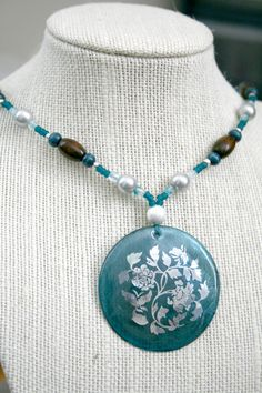 Teal Gray and Wood Necklace with Flower Shell by AhteesDesigns, $20.00