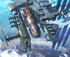 Dry Dock 3 by Eric Geusz Spaceship Art, Spaceship Design, Spaceship Concept, Concept Ships, Concept Art, Stargate, Nave Star Wars, Star Trek, Space Opera