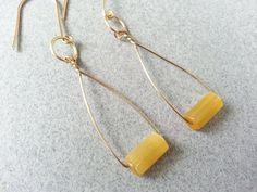 Yellow Earrings Gold Dangle Geometric Oval Curved by BandieGirl