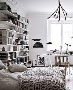 String shelves in the bedroom