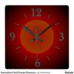 Atmospheric Red/Orange Illuminated> Wall Clock