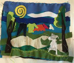 Bordado en arpillera con retazos de tela y puntadas, primer  hilvan #ateliermanosalaobra