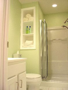 built in shelving!  a must for second bathroom. small bathroom design - Google Search