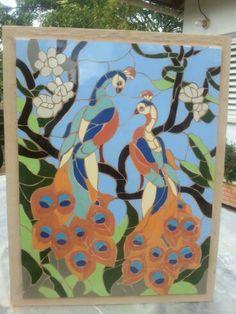 Mosaic peacocks by Iris Bello