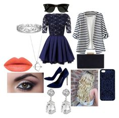 """""""Going Out"""" by pipergrace93 on Polyvore featuring Lipsy, BCBGMAXAZRIA, WithChic, Monsoon, Samantha Warren London, Ray-Ban, Kenneth Jay Lane and Effy Jewelry"""
