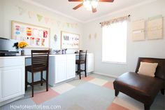 Craft Room DIY Desk Tutorial - I have a small 10x10ft craft room in my home and needed to find a desk that would provide workspace and storage. After scouring t…