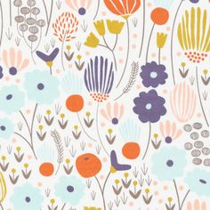 129655 Rich Meadow Ivory Voile from Morning Song by Elizabeth Olwen for Cloud9 Fabrics