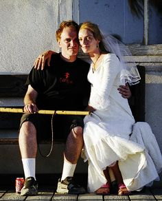 Quentin Tarantino & Uma Thurman on the set of Kill Bill: Vol 2., Love this..