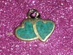 »FREE« Goldtone Turquoise Two Connected Heart Charm