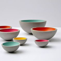 Bowls made of concrete in color by Peppermint Products. Half 3 Bowls are a set of 3 perfectly hemispherical bowls. Their curved nature allows them to playfully balance on the table, playfully rocking back and forth when touched. Wood Concrete, Concrete Cement, Concrete Furniture, Concrete Design, Concrete Planters, Cement Art, Concrete Crafts, Concrete Projects, Beton Design