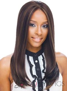 Classic Long Sepia Lace Front Real Hair Wigs for Black Women by fairywigs.com