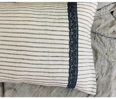 Iron White Ticking Striped Sham with Slate Lace Accent Romantic Master Bedroom, Romantic Room, Romantic Homes, Linen Pillows, Linen Fabric, Linen Bedding, Bedroom Design Inspiration, Linen Shop, Cotton Lace