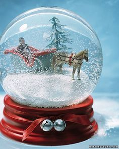 """See the """"Sleigh-Ride Snow Globe"""" in our Handmade Gifts for Kids gallery Christmas Snow Globes, Noel Christmas, All Things Christmas, Christmas Crafts, Xmas, Christmas Decorations, Christmas Markets, Christmas Images, White Christmas"""