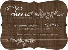This wood brown holiday party invitation would be perfect for a rustic holiday get together!
