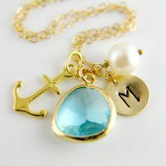 Gold Sea Anchor Necklace Beach Wedding by anatoliantaledesign, $41.00